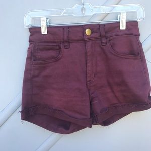 American Eagle Plum High Rise Shortie Jean Short 0